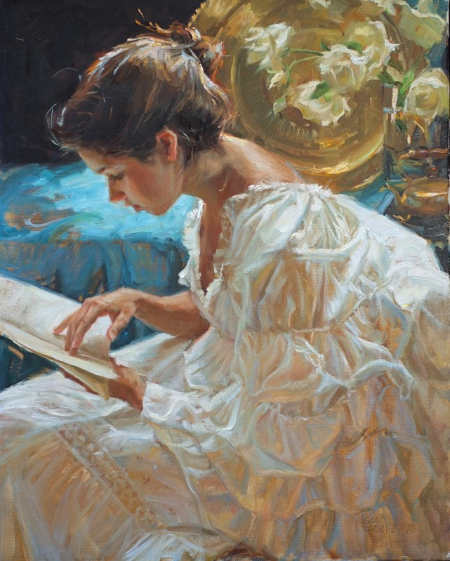 The Good Book. Gladys Roldan-de-Moras (Mexico, 1965-). Oil. Always proud of her Colombian and Mexican roots, Gladys Roldan-de-Moras' passion for art is reflected in her colorful work. Each one of her paintings captures the essence of the moment;...