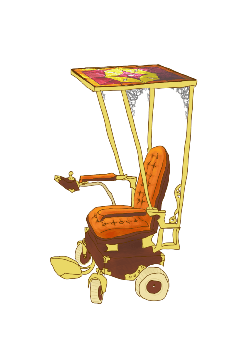 Super quick 'n' shitty drawing of what a solarpunk wheelchair could look like. Stained glass solar canopy above, battery below~Also I couldn't figure out an easy way to colorize greyscale things in sai, so the curly lookin' brackets near the top are...