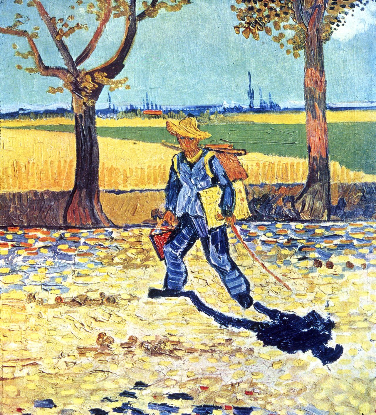 "dappledwithshadow: "" Vincent van Gogh Painter on His Way to Work (Vincent van Gogh on the road to Montmajour) August 1888 Oil on canvas 48 × 44 cm formerly Kaiser-Friedrich-Museum, Magdeburg, believed to have been destroyed by fire in World War II """