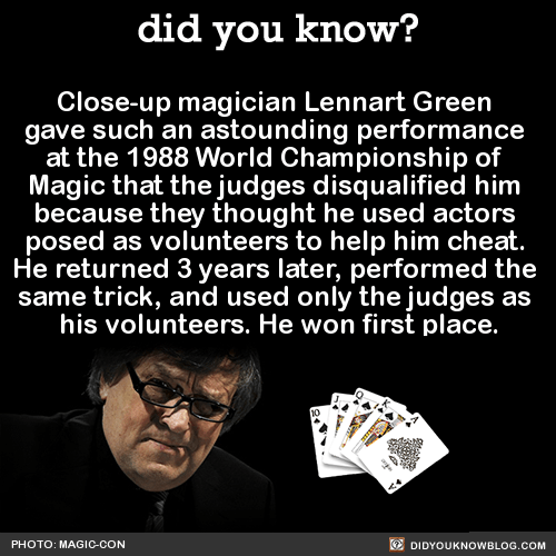 Close-up magician Lennart Green gave such an astounding performance at the 1988 World Championship of Magic that the judges disqualified him because they thought he used actors posed as volunteers to help him cheat. He returned 3 years later,...