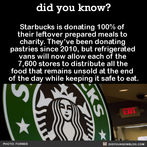 Starbucks is donating 100% of their leftover prepared meals to charity. They've been donating pastries since 2010, but refrigerated vans will now allow each of the 7,600 stores to distribute all the food that remains unsold at the end of the day...