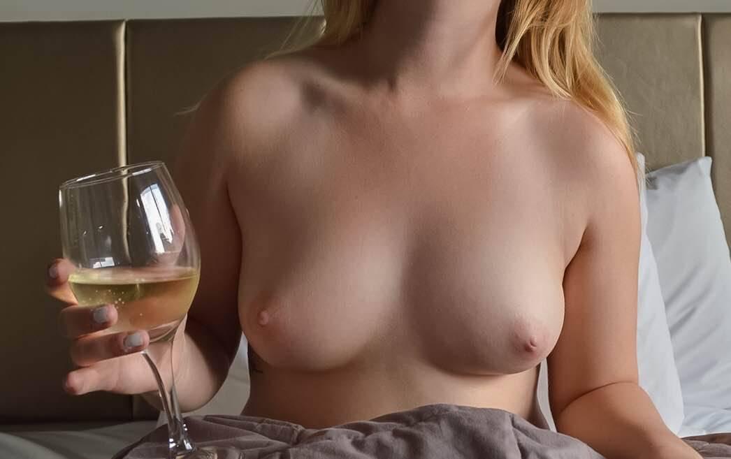 Misssnow enjoying a bit lat late night wine before bed
