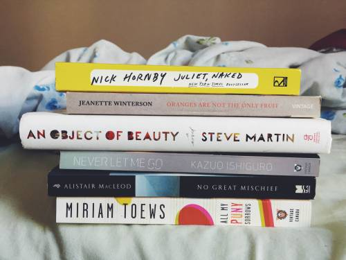 "booksoncaffeine: ""I was tagged by journaling-junkie for the book spine name game! Thank you :) J - Juliet, Naked by Nick Hornby O - Oranges are not the Only Fruit by Jeanette Winterson A - An Object of Beauty by Steve Martin N - Never Let Me Go by..."