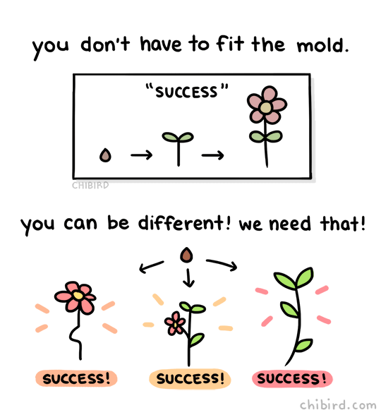 chibird:  There isn't just one path that represents success- there are hundreds of possibilities, and they all look different! 🌱✨  Instagram | Patreon | Webtoon