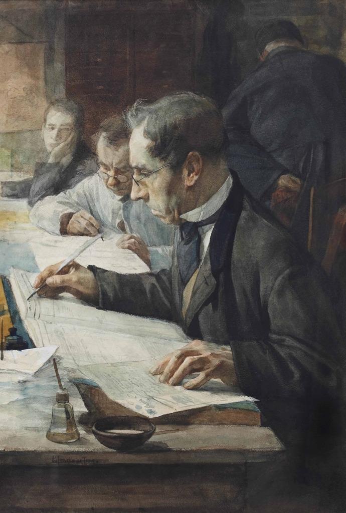 "thunderstruck9: "" Pieter de Josselin de Jong (Dutch, 1861-1906), In the office. Chalk, watercolour and gouache on paper, 36 x 52 cm. """