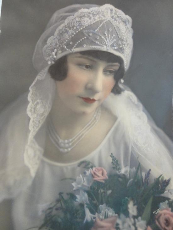 foto de tintado a mano de la novia de 1920