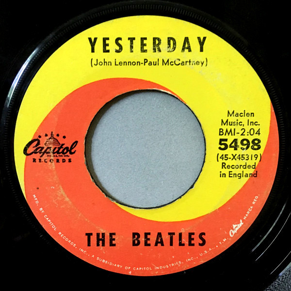 """81e70ddf1 On this day in music history: October 9, 1965 – """"Yesterday"""" by The Beatles  hits #1 on the Billboard Hot 100 for 4 weeks. Written by John Lennon and  Paul ..."""