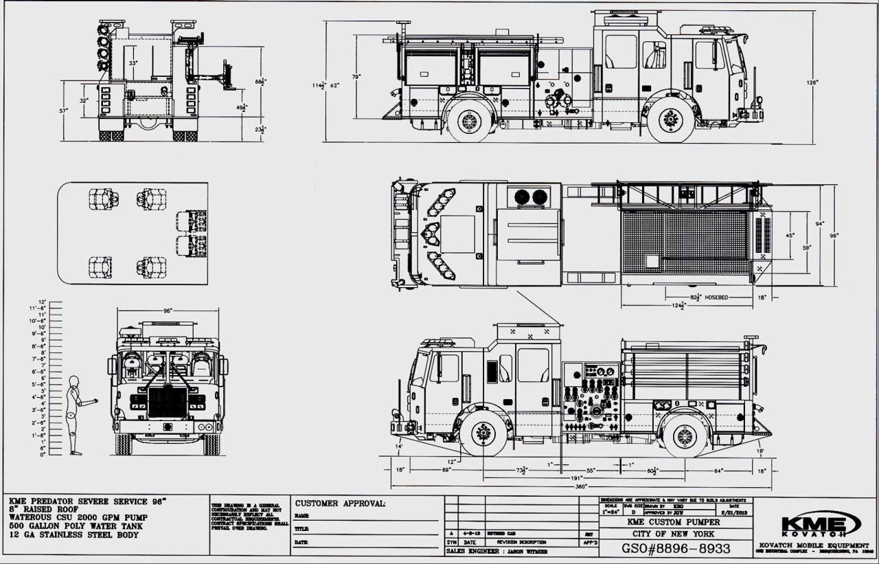 Fire Ems Police Kme Drawing For New Fdny Pumpers