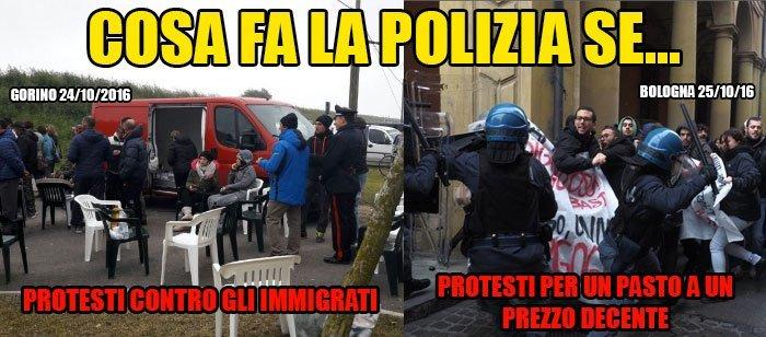 Emilia Romagna. Ieri a #Gorino la polizia coccolava i razzisti, oggi a #Bologna carica gli studenti.