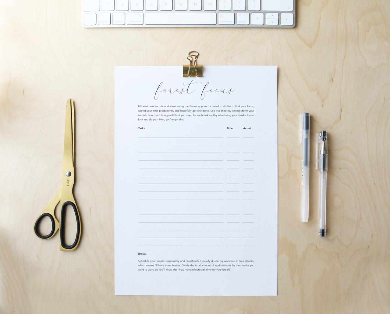 17 06 17 Printable Forest Focus Worksheet If