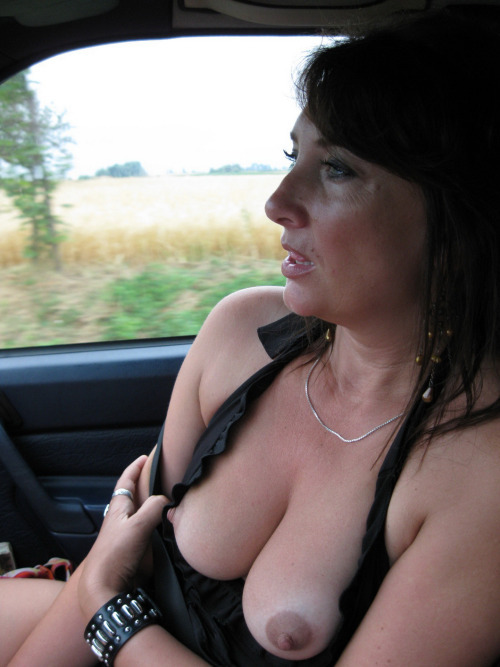 Road trip. Luscious, perfect breasts.