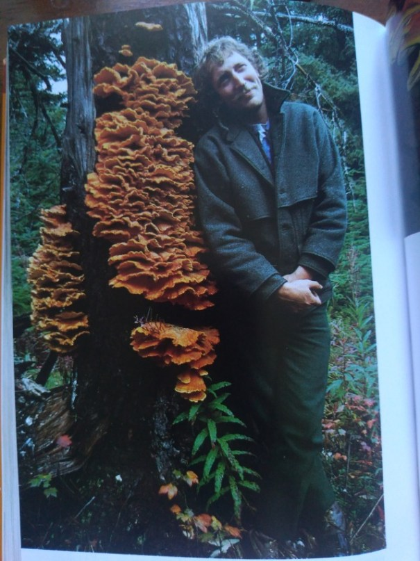A man leaning against a tree with shelf fungus growing on the trunk.
