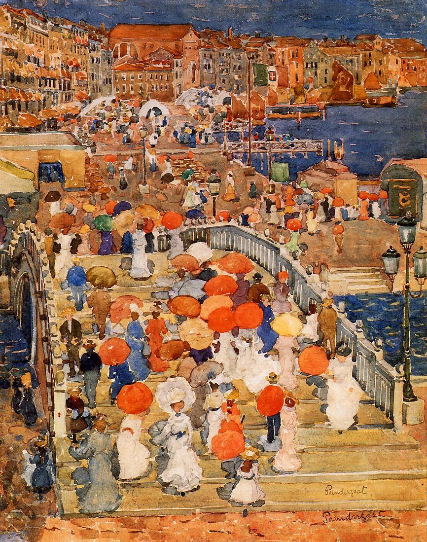 "rjtyler: "" Bridge of straw, Venice 1899 by Maurice Prendergast """