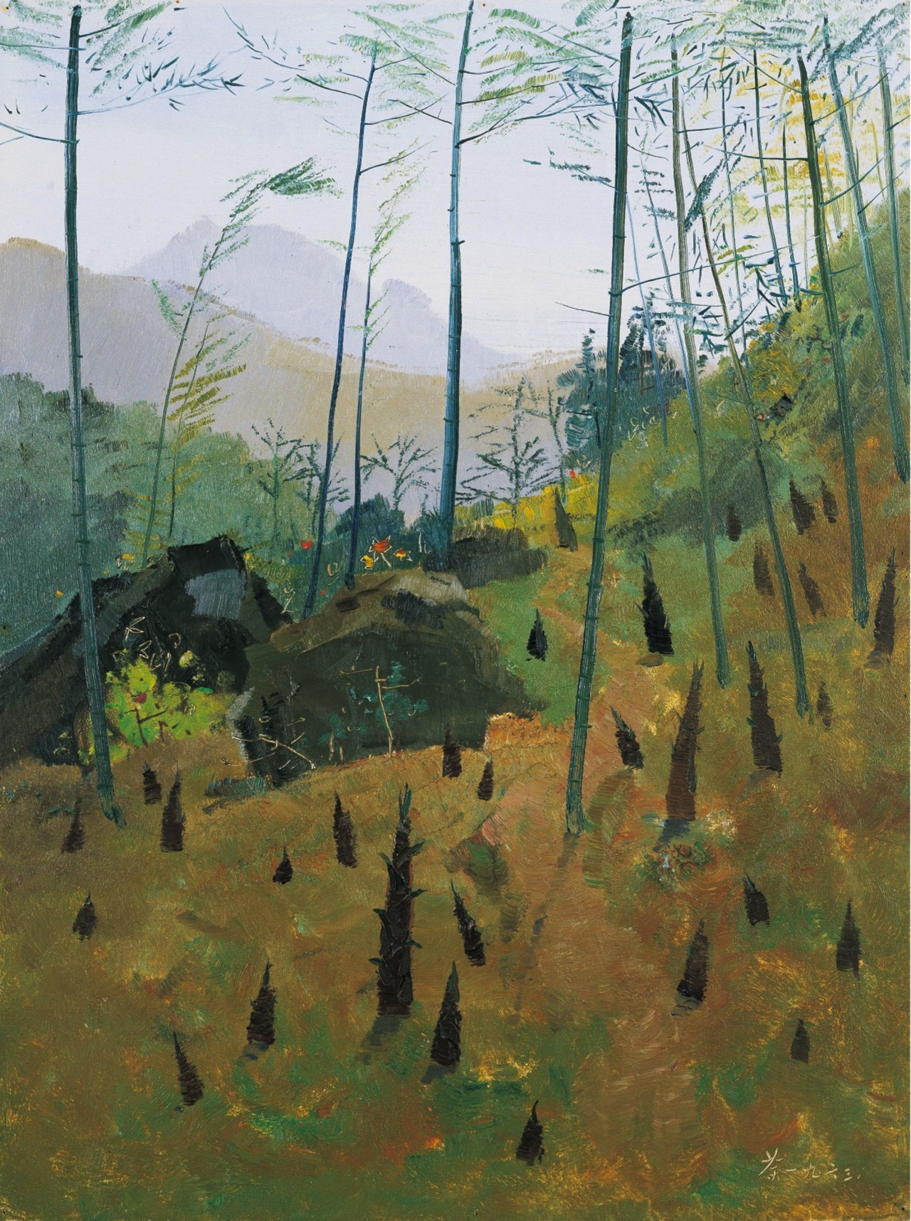 """thunderstruck9: """" Wu Guanzhong (Chinese, 1919-2010), Spring bamboo shoots, 1963. Oil on board, 61.3 x 46 cm """""""