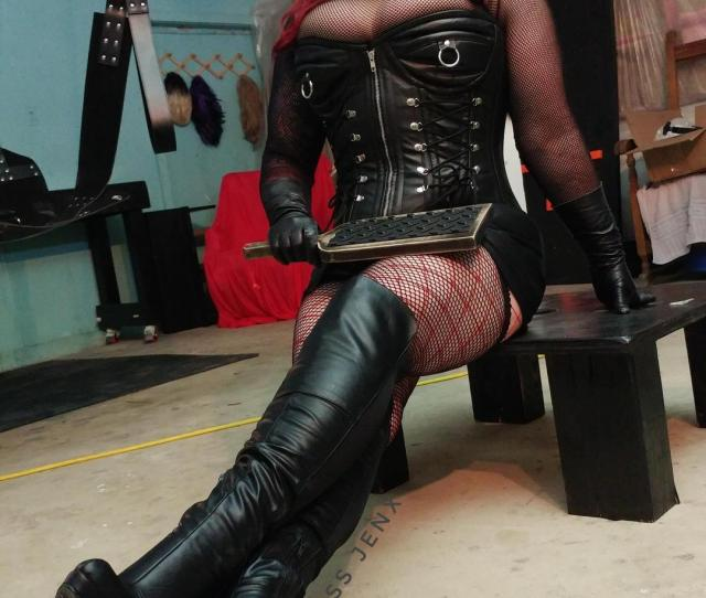 French4randy Fem Domme Leather Boots Gloves Corset And