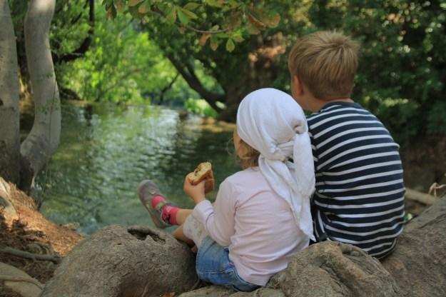 2 ילדים מסתכלים לנהר