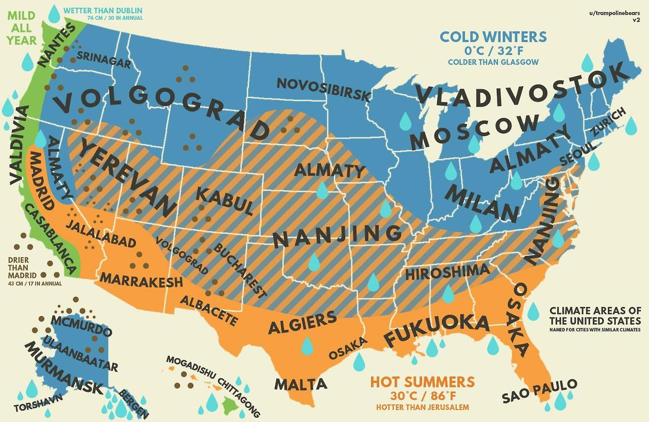 Us Climate With Equivalent Cities From Around The