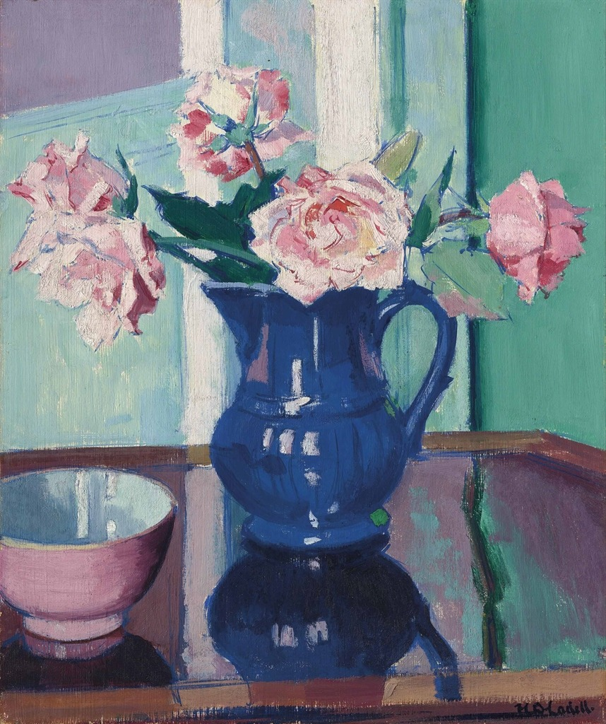 "thunderstruck9: "" Francis Campbell Boileau Cadell (British, 1883-1937), Roses, c.1925. Oil on panel, 44.4 x 36.8 cm. """
