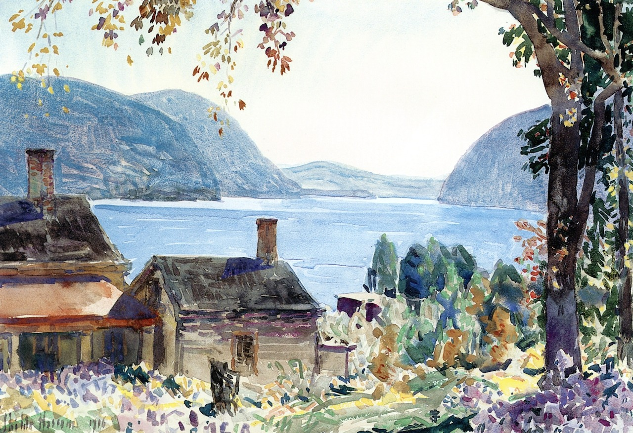 "dappledwithshadow: "" Old Houses on the Hudson Frederick Childe Hassam 1916 Private collection Painting - watercolor Height: 38.1 cm (15 in.), Width: 55.25 cm (21.75 in.) """