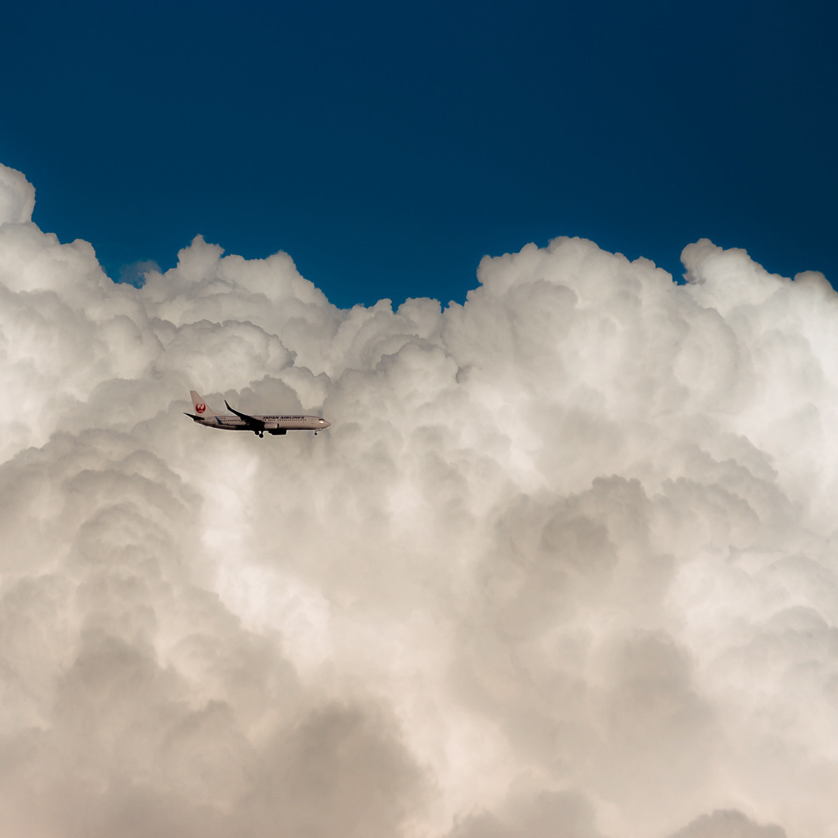 plane flying among clouds