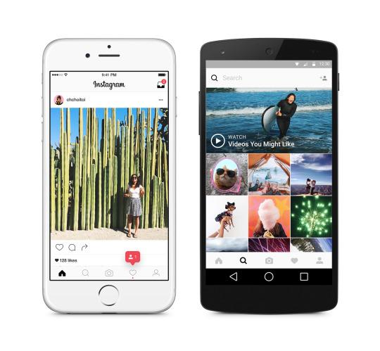 Tampilan baru Instagram di iOS dan Android.