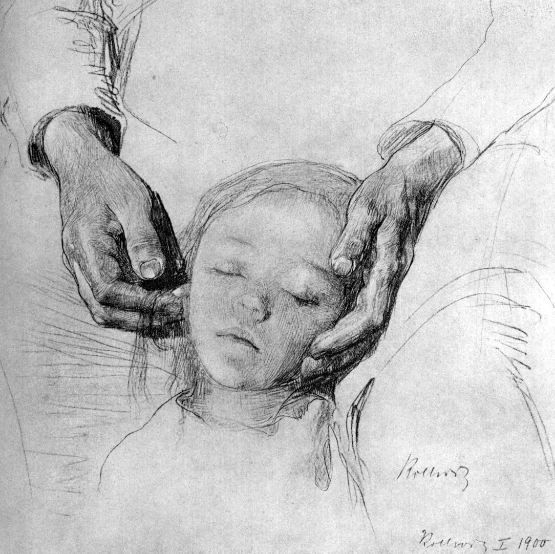 Kathe Kollwitz: The Child's head on his Mother's hands (1900)