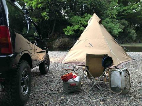 高麗川でソロキャンプ