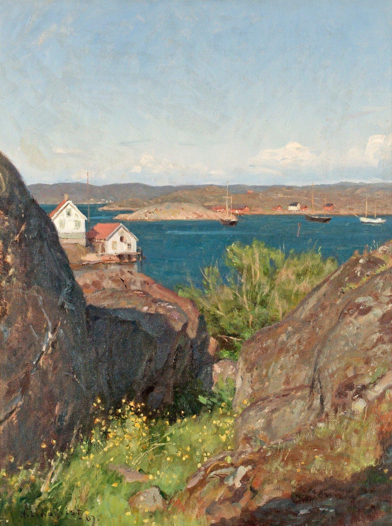 "huariqueje: "" Summer West Coast - Herman Lindqvist , 1907 Swedish , 1868 - 1923 Oil on cloth 55.5 x 42 cm. """