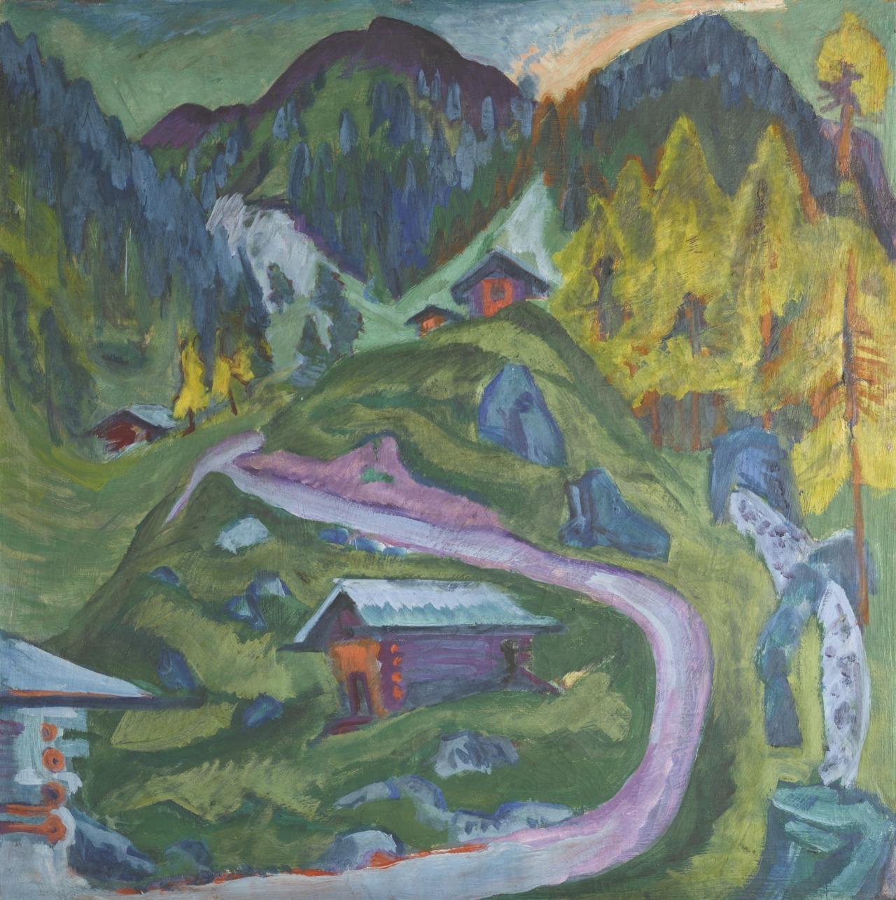 "thunderstruck9:"" Ernst Ludwig Kirchner (German, 1880-1938), Alpweg (Bergweg) [Alp Path (Mountain Path)], 1921. Oil on canvas, 120.5 x 120.5 cm."""