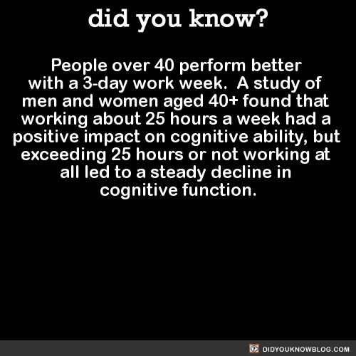 People over 40 perform better with a 3-day work week. A study of men and women aged 40+ found that working about 25 hours a week had a positive impact on cognitive ability, but exceeding 25 hours or not working at all led to a steady decline in cognitive function. Source Source 2