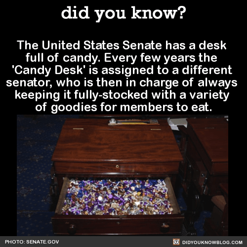 The United States Senate has a desk full of candy. Every few years the 'Candy Desk' is assigned to a different senator, who is then in charge of always keeping it fully-stocked with a variety of goodies for members to eat. Source Source 2