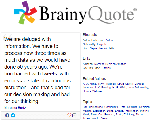 Norena Hertz quote on information overload on brainyquote.com