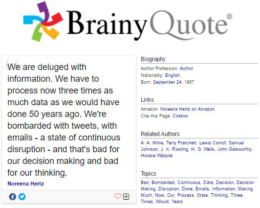 Norena Hertz quote on information overload on brainyquote.com