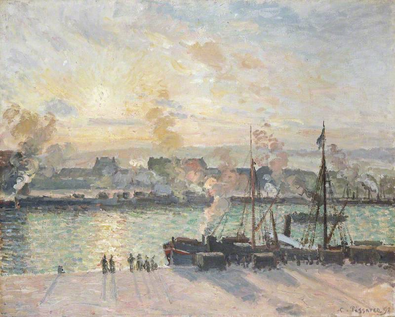 "radstudies:"" Camille Pissarro (Danish-French, 1830-1903)Sunset, Port of Rouen"""