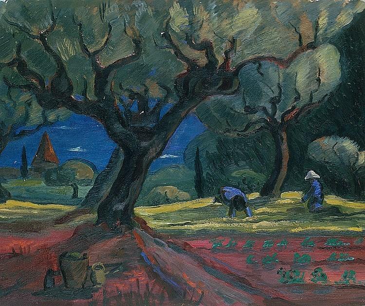 """huariqueje: """" Bauern in Carqueiranne - Arturo 'Turo'Pedretti , 1930 Swiss, 1896-1964 Oil on cardboard, 40,5 x 51 cm """""""