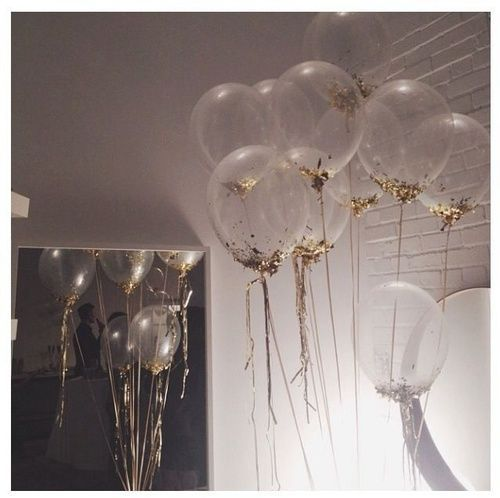 Balloon Decorations Clear Balloon With Gold Confetti Glitter Glued To The Outside White Brick Wall Mirror Gold String