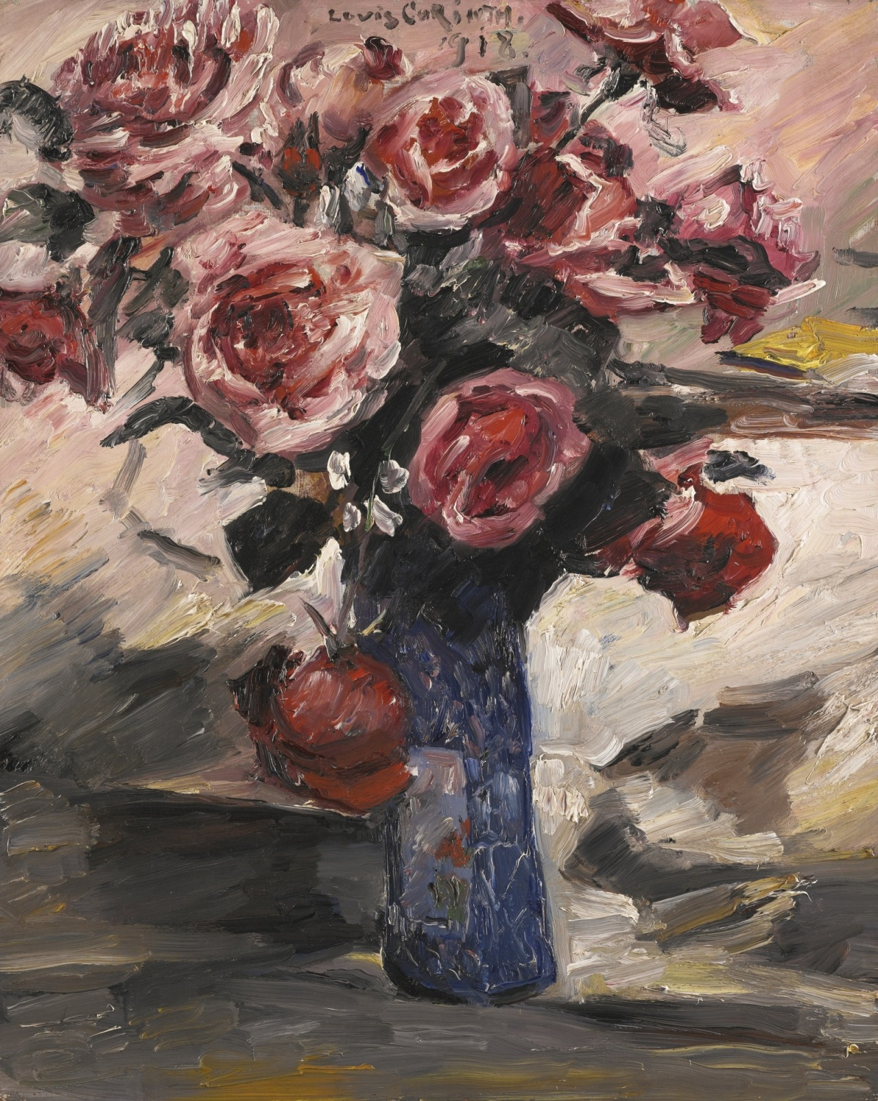 "thunderstruck9: "" Lovis Corinth (German, 1858-1925), Rosen [Roses], 1918. Oil on panel, 60.9 x 49.3 cm. """
