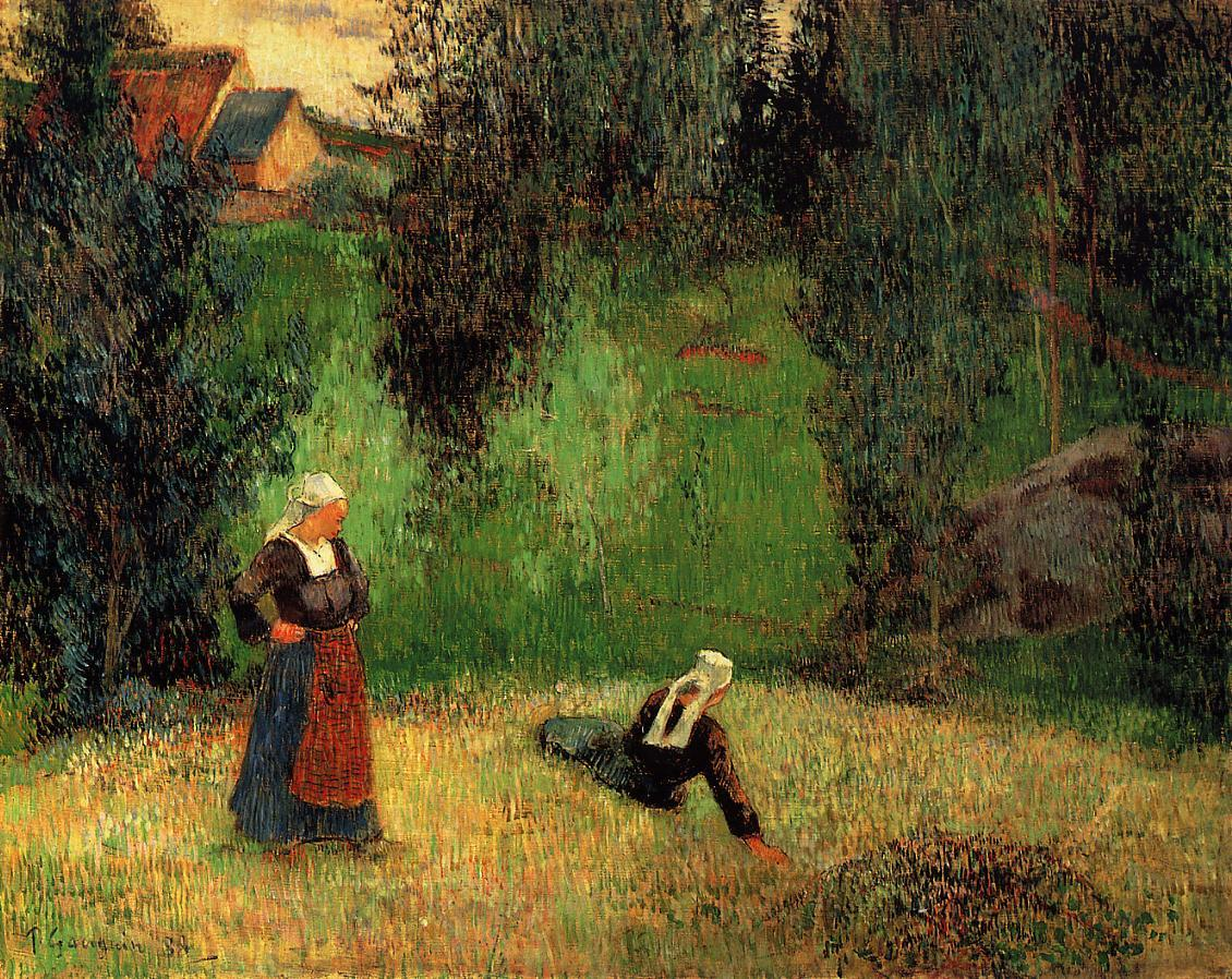 "dappledwithshadow: "" First Spring Flowers Paul Gauguin 1888 Private collection Painting - oil on canvas Height: 70 cm (27.56 in.), Width: 92 cm (36.22 in.) """