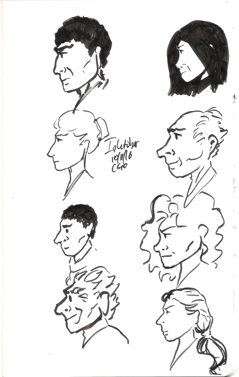 Inktober day 11. Super quick profiles. Still not feeling great so very little energy for creating or thinking. :(