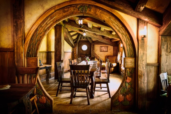 Hobbit Home Decor Dining Room Wooden Ceiling Beams Circular Door Rustic  Dining Table