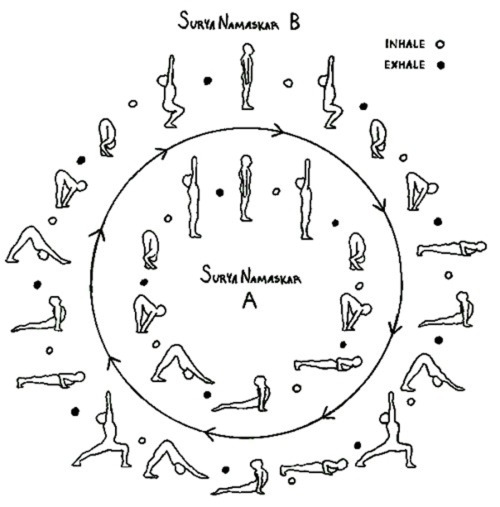 Here is a neat depiction of SURYA NAMASKAR A and B, including breath cues (use the legend at the top right). Sun salutations link each movement with an inhale or an exhale breath. Follow the length of your breath to judge how long to stay in each...