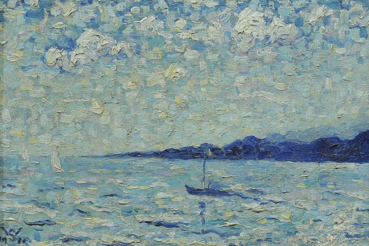 "amare-habeo: ""  Willy Schlobach (German-Belgian, 1864 - 1951) Marine, 1920 Oil on canvas mounted on cardboard, 19 x 27 cm """