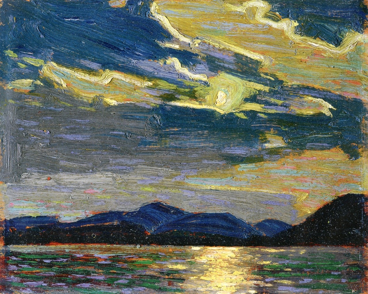 "dappledwithshadow:"" Hot Summer MoonlightTom Thomson1915National Gallery of Canada - Ottawa (Canada)PaintingHeight: 21.4 cm (8.43 in.), Width: 26.7 cm (10.51 in.)"""