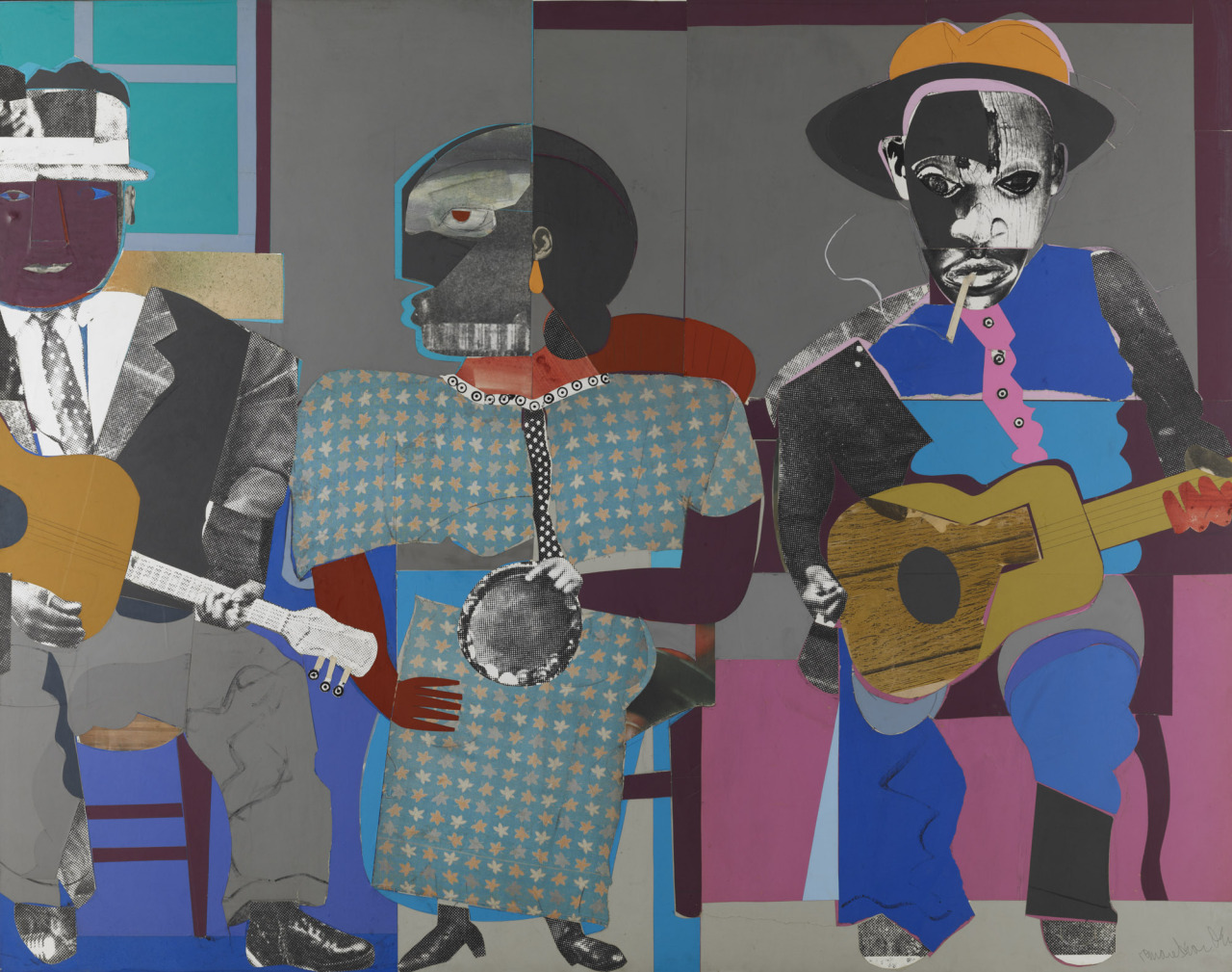 "thunderstruck9: "" Romare Bearden (American, 1911-1988), Soul Three, 1968. Paper and fabric collage on board, 111.76 x 140.97 cm. """