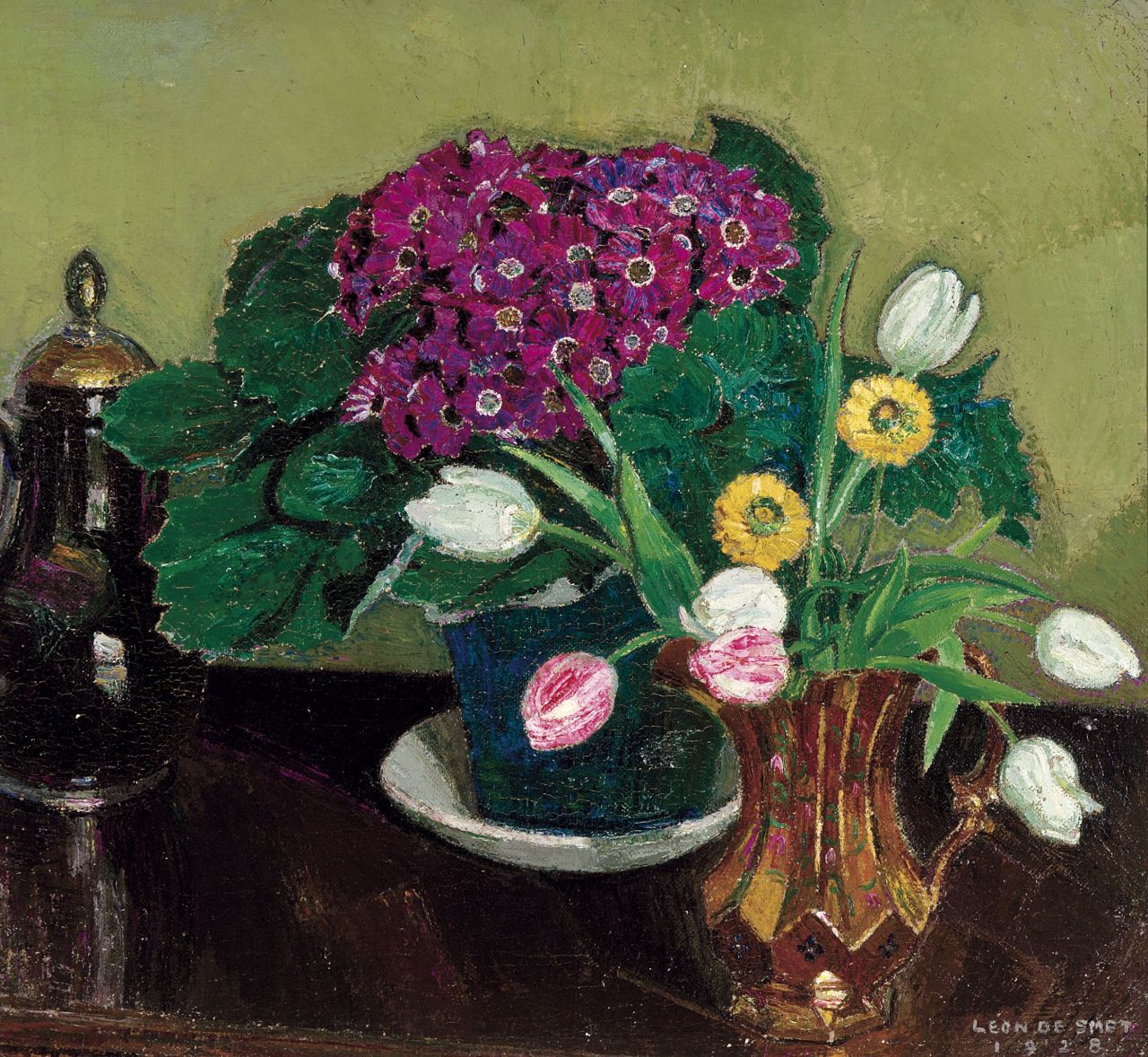 "huariqueje: "" Flower Still Life - Léon de Smet , 1928 Belgian, 1881-1966 Oil on canvas, 65 x 70 cm """