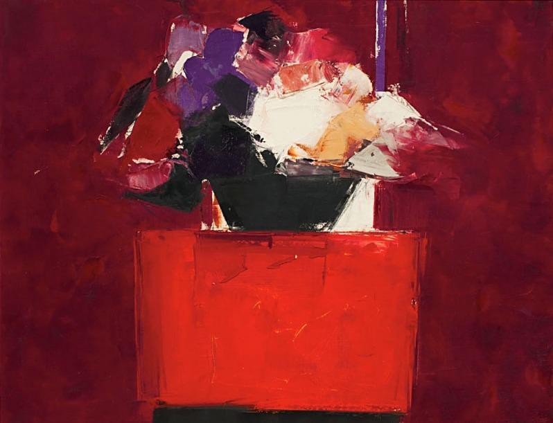 "lilithsplace: "" Flowers on an Orange Table, 1960 - Donald Hamilton Fraser (1929–2009) """