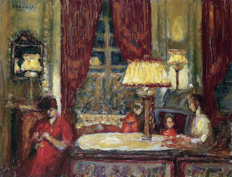 "huariqueje: ""  The Evening Under the Lamp - Pierre Bonnard, 1903 French, 1867-1947 """