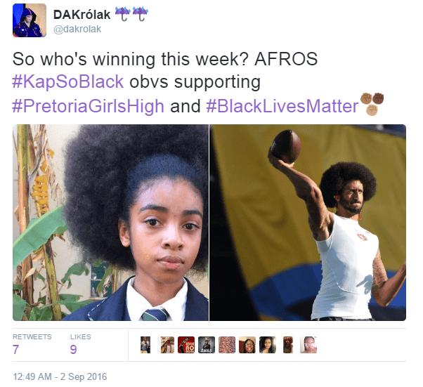 "dakrolak: ""  So who's winning this week? AFROS   #KapSoBlack obvs supporting #PretoriaGirlsHigh and #BlackLivesMatter  """