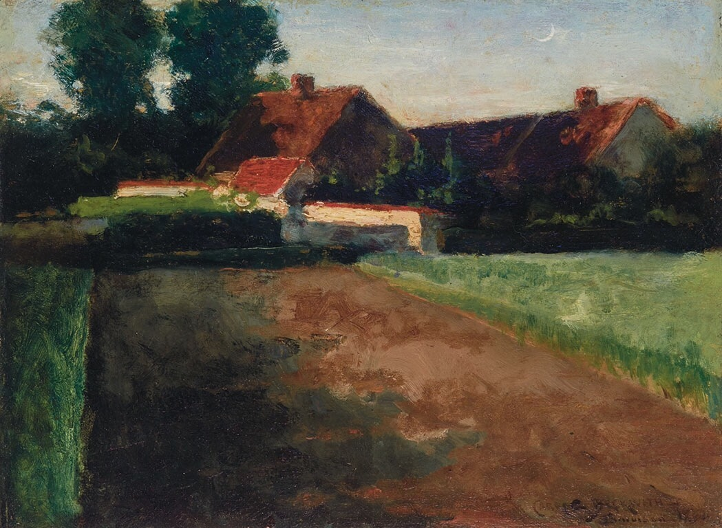 """terminusantequem:"""" James Carroll Beckwith (American, 1852-1917), Back of J. F. Millet's Garden (J. F. Millet's House from the Fields), 1874. Oil on panel, 10 ¼ x 13 ¾ in."""""""