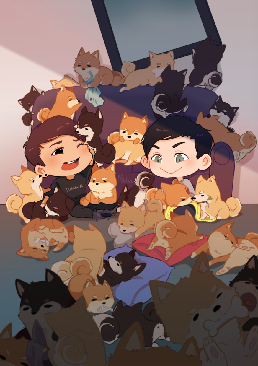 How many shiba inu(s) are in this drawing?click here to see how to enter my 1st phanart giveaway